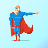Old charismatic hipster Superhero. Superhero in action. Vector illustration. Royalty Free Stock Images