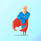 Old charismatic hipster Superhero. Superhero in action. Vector illustration. Royalty Free Stock Photo