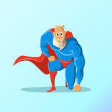 Old charismatic hipster Superhero. Superhero in action. Vector illustration. Stock Images