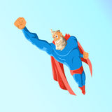 Old charismatic hipster Superhero. Superhero in action. Vector illustration. Royalty Free Stock Image