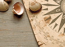 Old chart and shells stock photo