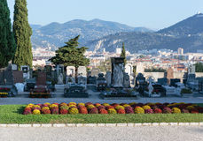 Old Chateau Cemetery in Nice on Castle Hill. NICE, FRANCE - OCTOBER 29, 2014: Old Chateau Cemetery on Castle Hill royalty free stock photo