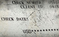 Old check. Texture of the old scratched bank check Royalty Free Stock Images