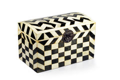 Old checkered box isolated. Old decorative checkered wooden box isolated Royalty Free Stock Photography