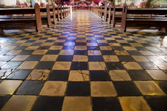 Old Checkered Floor - Baclayon Church - Philippines Stock Photos