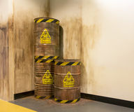 Old chemical barrel. In warehouse Stock Photos