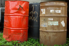 Old Chemical Barrels in Clover Royalty Free Stock Photography