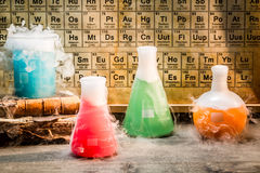 Old chemical lab during the experiment Royalty Free Stock Image