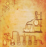 Old chemistry laboratory background. In vintage style Stock Images