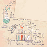Old chemistry laboratory background. Old chemistry laboratory vector background in vintage style Stock Photos