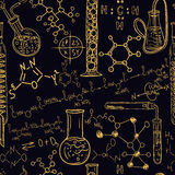 Old chemistry laboratory seamless pattern set. Vintage vector background hand drawing Stock Photos