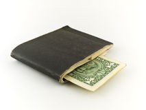Old Chequebook and One Dollar Bill on White Stock Photography