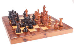 Old Chess Board And Figures Royalty Free Stock Photo