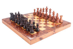 Old Chess board set up to begin a game Royalty Free Stock Images