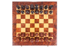 Old Chess board set up to begin a game Stock Image