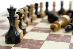 Old chess on paper board Royalty Free Stock Photography