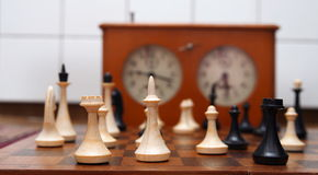 Old chess pieces closeup Stock Image