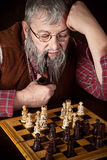 Old chess player Stock Image