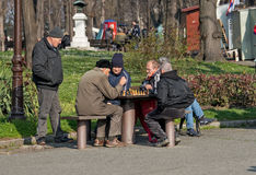 Old chess players in park 4 Royalty Free Stock Photos