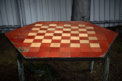 Old chess table Royalty Free Stock Images