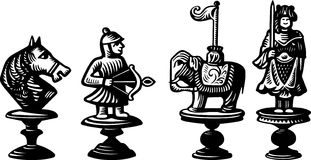 Old chessmen Royalty Free Stock Photo
