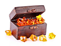 Old chest with gems isolated Royalty Free Stock Photo