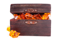 Old chest with gems isolated Royalty Free Stock Image