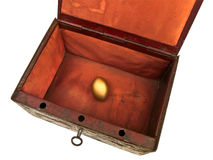 Old chest with golden egg Stock Photos