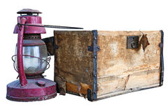 Old chest and weathered lantern Stock Photo