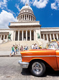 Old Chevrolet in front of the CapitolHavana. Old Chevrolet  in Havana.Cubans keep thousands of classic cars like this running despite their age and lack of parts Stock Photos