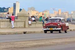 Old Chevrolet at the Malecon in Havana Royalty Free Stock Photos