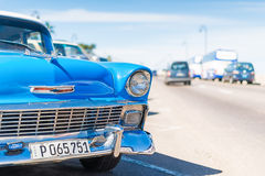 Old Chevrolet parked at the Malecon of Havana Stock Photo