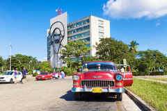 Old Chevrolet in the Revolution Square in Havana Royalty Free Stock Photography