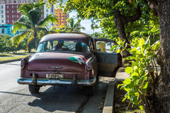 Old Chevrolet on Vedado district in Havana, Cuba Stock Images