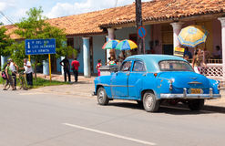 Old Chevy in the cuban town of Vinales Stock Photos