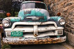 Old Chevy Pickup truck with custom Colorado License plate saying stock photo