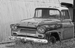 An Old Chevy Pickup Truck in a Junkyard. Palominas, Arizona - July 20: Palominas, Arizona on July 20, 2014, near Sierra Vista, Arizona. An Old Abandoned Royalty Free Stock Photos