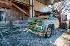 Old Chevy Truck Located at the Old Crawford Mill in Walburg Texas Stock Photo
