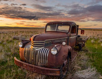Old Chevy Truck. An old Chevy truck from probably the late 1940`s abandoned in an open field royalty free stock image