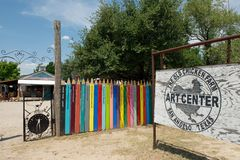 The Old Chicken Farm Art Center, San Angelo, TX, US. July 14 2012, San Angelo, US: Entrance to The Old Chicken Farm Art Center, which is a community where Stock Photography
