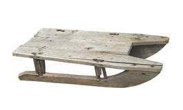 Old child�s wooden sled isolated Stock Photo