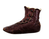 Old Child's red leather shoe Royalty Free Stock Photos