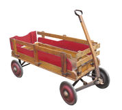 Old child's wooden wagon isolated. Royalty Free Stock Images