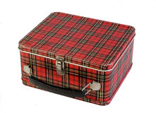 Old Children's plaid school lunch box. Old kid's school lunch box from the 50's Stock Photo