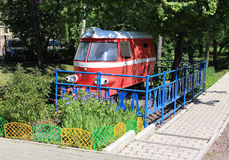 Old childrens railway locomotive. Gorky Park Royalty Free Stock Photography