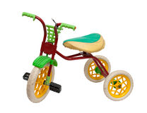 Old children's tricycle on white background Stock Image