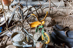 Old Children tricycle in a metal scrap Royalty Free Stock Photos