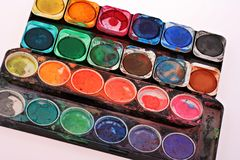 Old childrens paint set Royalty Free Stock Photo