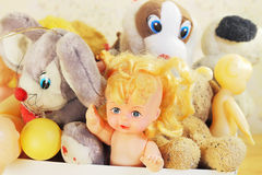 Old childrens toys. Old children's toys in a box Stock Image