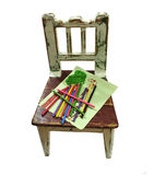 Old childs chair with drawing Royalty Free Stock Photos
